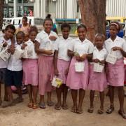 school kids recycling bags